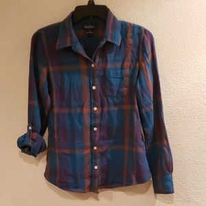 Lucky Brand Live In Love Teal Button Up Flannel SM
